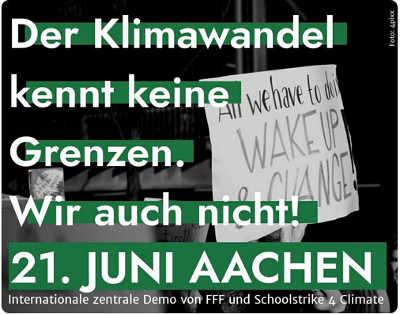 Fridays For Future Germany @FridayForFuture</p> <p>Am 21. Juni werden Mitglieder unserer Bewegung aus ganz Europa nach Aachen kommen und dort gemeinsam streiken! Haltet euch das Wochenende frei!</p> <p>Climate justice without Borders - United for A Future! #FridaysForFuture #schoolstrike4climate #fff #ss4c