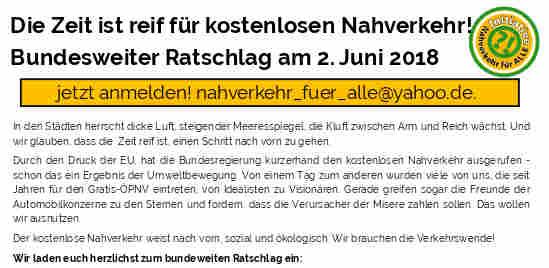 Einladung zu einem bundesweiten Ratschlag zur Verkehrswende am 02.06.18 in Kassel.<br /> Anmeldung oder Fragen bitte an nahverkehr_fuer_alle@yahoo.de