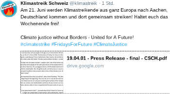 Klimastreik Schweiz  @klimastreik<br /> Am 21. Juni werden Klimastreikende aus ganz Europa nach Aachen, Deutschland kommen und dort gemeinsam streiken! Haltet euch das Wochenende frei!<br /> Climate justice without Borders - United for A Future!<br /> #climatestrike #FridaysForFuture #ClimateJustice