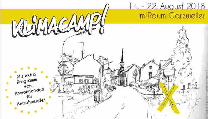 """Bereits zum neunten Mal findet 2018 im Rheinischen Revier das Klimacamp statt. Wir laden Sie herzlich ein, daran teilzunehmen - vom 11.-22. August!<br /> Nachdem sich über die letzten Jahre der Austausch zwischen Anwohnenden, Beschäftigten von RWE und dem Klimacamp bereits intensiviert hat, wird das diesjährige Camp erstmals zusammen mit Menschen aus der Region vorbereitet – und richtet sich insbesondere auch an Sie.<br /> Sie sind eingeladen, Ideen zu entwickeln, wie das Rheinland der Zukunft aussehen kann – sozial gerecht und ohne Kohle- strom. Dafür möchten wir mit dem Camp einen Raum schaffen. Angesichts der aktuellen Bundespolitik glauben wir, dass es besonders wichtig ist, dass die Menschen hier vor Ort sich Gehör verschaffen: Denn die Regierung lagert die Diskussion über den Kohleausstieg in die Kommission """"Wachstum, Strukturwandel und Beschäftigung"""" aus. Dort sind die Interessen der Konzerne weitaus stärker vertreten als die der Betroffenen.<br /> Kommen Sie auf das Klimacamp, für einen kurzen Besuch oder die ganze Woche – wir freuen uns auf Sie!"""