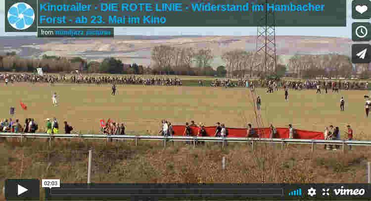 """Kinostart des Filmes """"Die rote Linie- Widerstand im Hambacher Forst"""" am 23.5.2019"""