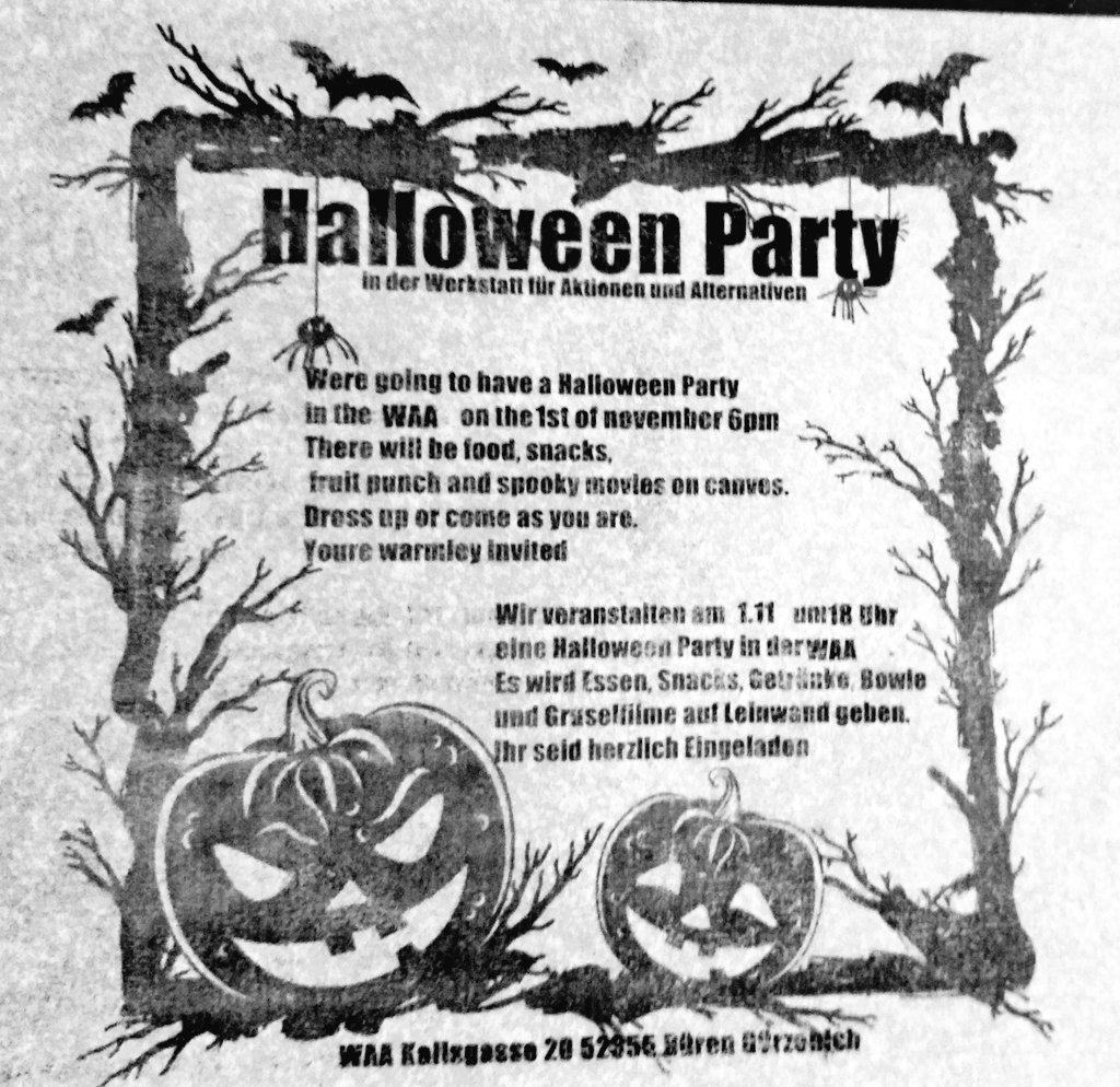 Halloween-Party am 1.11. 18 uhr in der WAA