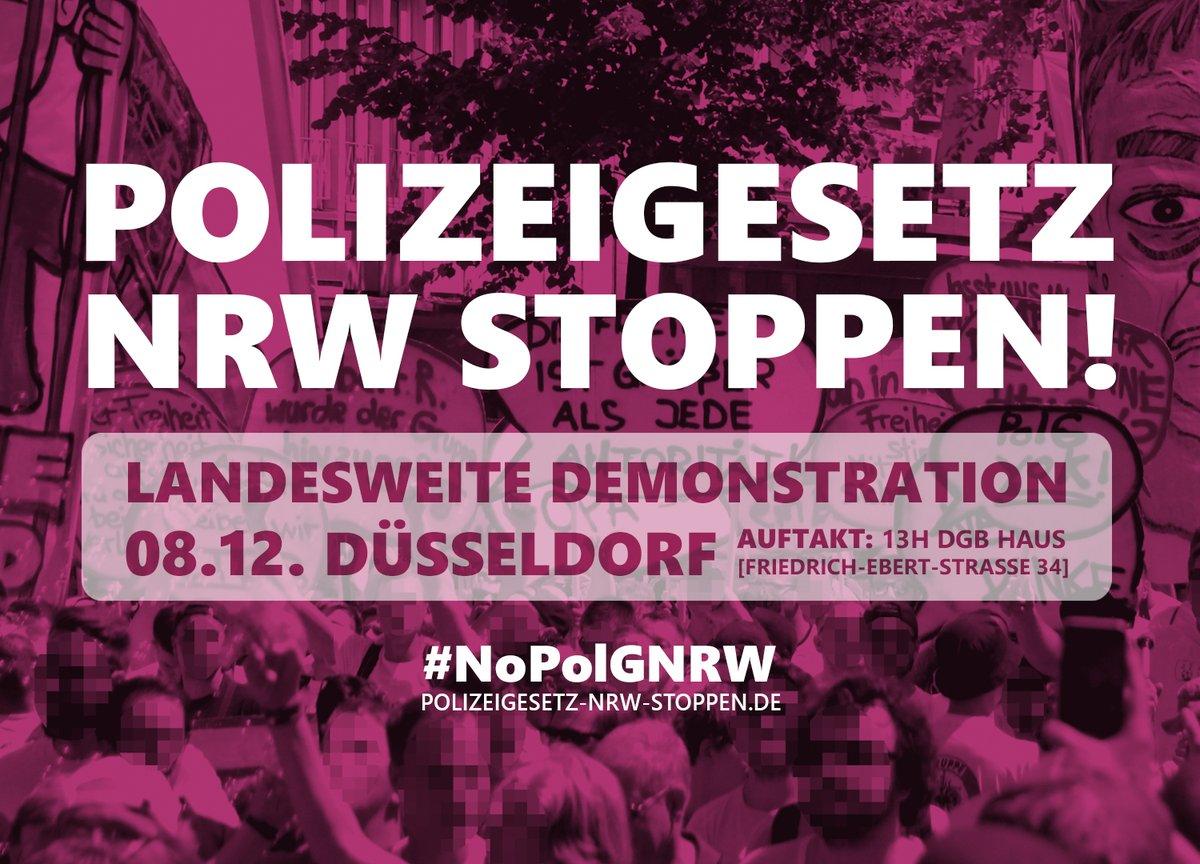 wir rufen erneut zu breiten Protesten gegen die<br /> Polizeigesetzverschärfung auf. Lasst uns das Polizeigesetz NRW stoppen!</p> <p>Helft uns, indem ihr</p> <p> 1. den Aufruf verbreitet. Ladet Freund*innen, Bekannte, Kolleg*innen<br />     oder Mitstreiter*innen aus euren Politgruppen ein.<br />  2. den Aufruf unterzeichnet. Meldet euch dazu unter<br />     Kontakt@Polizeigesetz-NRW-Stoppen.de<br />  3. eigene Infoveranstaltungen, Flashmobs, Podcasts, Videos,<br />     Straßentheater, Kundgebungen oder andere Aktionen plant. Sagt uns<br />     Bescheid - wir vermitteln Referent*innen und helfen bei der<br />     Öfentlichkeitsarbeit!<br />  4. einen eigenen thematischen Block auf der Demo organisiert oder euch<br />     einem der thematischen Blöcke anschließt. Meldet euch dazu unter<br />     Kontakt@Polizeigesetz-NRW-Stoppen.de<br />  5. eine gemeinsame Anreise aus eurer Stadt zur Demo in Düsseldorf plant.