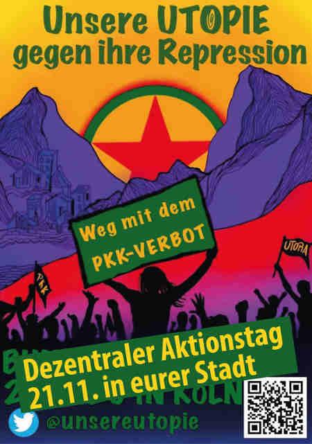 Unsere Utopie gegen ihre Repression<br /> Liebe Genoss*innen, Freund*innen, alle freiheitsliebenden, feministischen, antirassistischen, antikapitalistischen und demokratischen Menschen, wir rufen euch alle dazu auf, am 21.11.2020 gemeinsam mit uns für die befreite Gesellschaft in Deutschland, Kurdistan und überall auf der Welt auf die Straße zu gehen!<br /> PKK? Na klar!!!<br /> Die PKK (Arbeiterpartei Kurdistans) gibt es nun seit 42 Jahren. Sie gründete sich als organisierte Selbstverteidigung gegen den faschistischen Terror und Genozid, den der türkische Staat gegen die kurdische Gesellschaft verübte. Sie gründete sich außerdem mit dem Ziel, eines unabhängigen, vereinigten und sozialistischen Kurdistans. Der Beweis dafür, dass diese Utopie lebt, ist die Umsetzung des Demokratischen Konföderalismus in Rojava (Demokratische Föderation Nord- Ostsyrien).<br /> Die PKK organisierte sich dort zusammen mit der Gesellschaft, sodass sich die Menschen vor Ort inmitten der Angriffe des IS und des türkischen Staates nicht daran hindern ließen, weitere Grundlagen für eine befreite Gesellschaft aufzubauen! Grundpfeiler des Demokratischen Konföderalismus sind: Geschlechterbefreiung, Ökologie und die Organisierung einer basisdemokratischen Gesellschaft.<br /> Es war der Widerstand der YPJ, YPG & der Guerilla der PKK, der die Menschlichkeit im Kampf gegen den Faschismus des Islamischen Staates (Daesh) verteidigte. Ihr Einsatz verhinderte im Sommer 2014 den Völkermord an der ezidischen Bevölkerung in Shengal! -Weg mit dem PKK-Verbot!!!