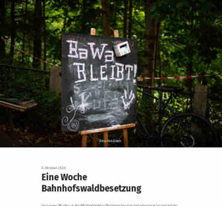 8.10.20 - Eine Woche Bahnhofswaldbesetzung Flensburg<br /> Seit einer Woche ist der Bahnhofswald in Flensburg besetzt und schon jetzt ist viel auf der Besetzung passiert.<br /> Ein paar Fotoimpressionen haben wir hier zusammengestellt...
