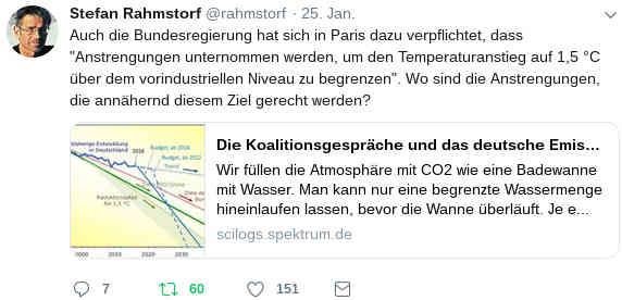Stefan Rahmstorf @rahmstorf 25. Jan. 2019</p> <p>Auch die Bundesregierung hat sich in Paris dazu verpflichtet, dass 'Anstrengungen unternommen werden, um den Temperaturanstieg auf 1,5 °C über dem vorindustriellen Niveau zu begrenzen'. Wo sind die Anstrengungen, die annähernd diesem Ziel gerecht werden?